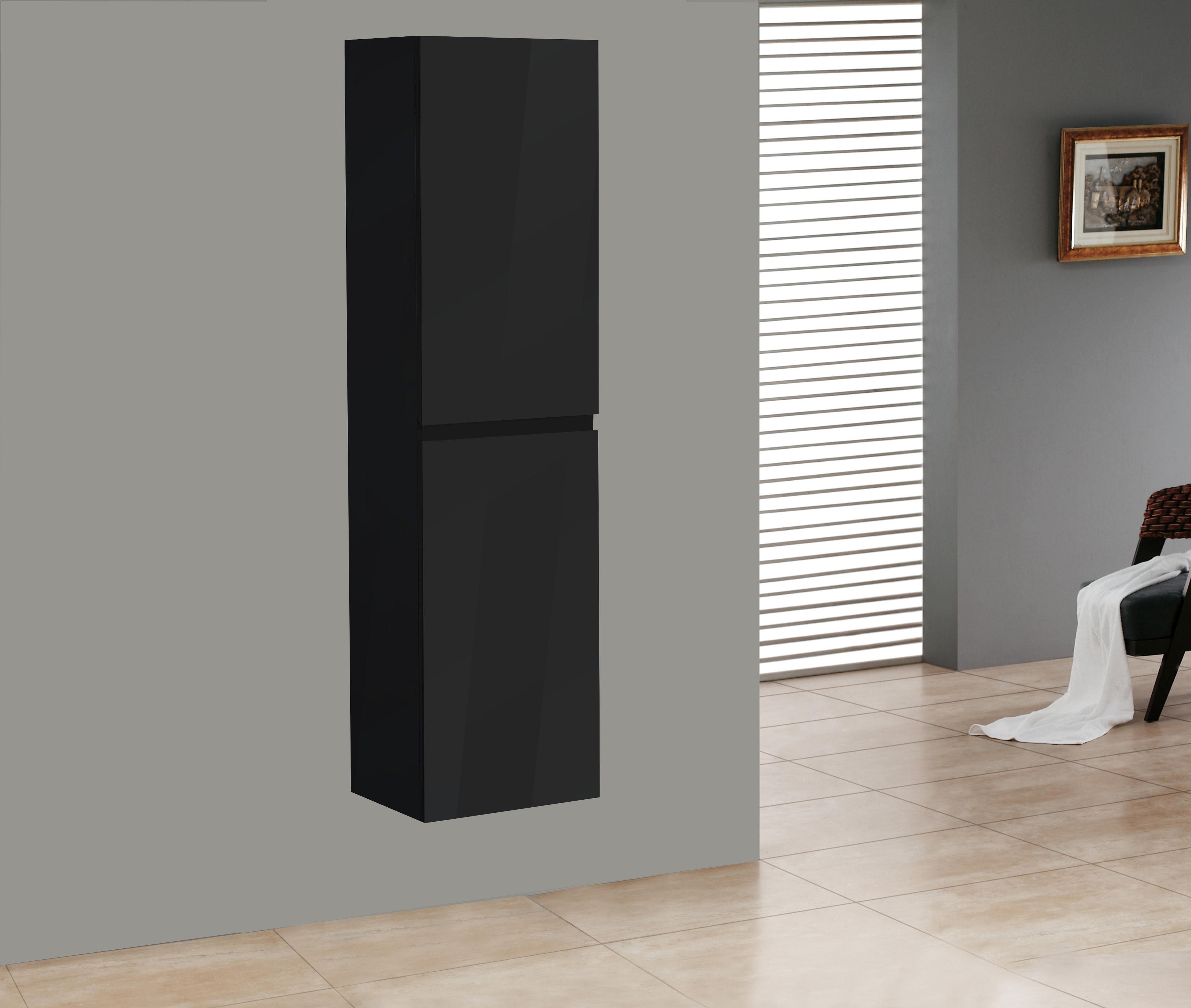 Badmöbel Seitenschrank SWIFT in hochglanz-schwarz