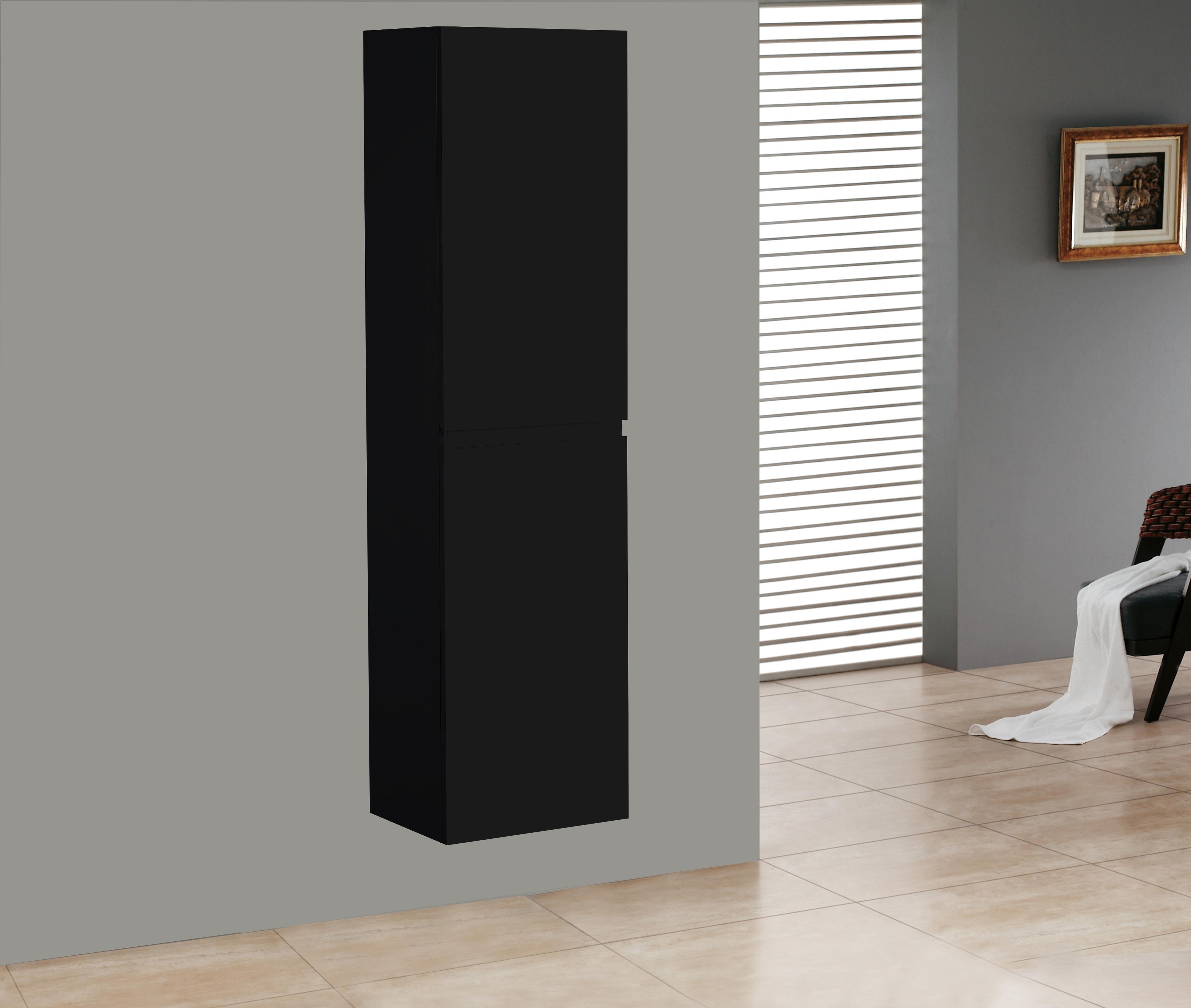 Badmöbel Seitenschrank SWIFT in matt-schwarz
