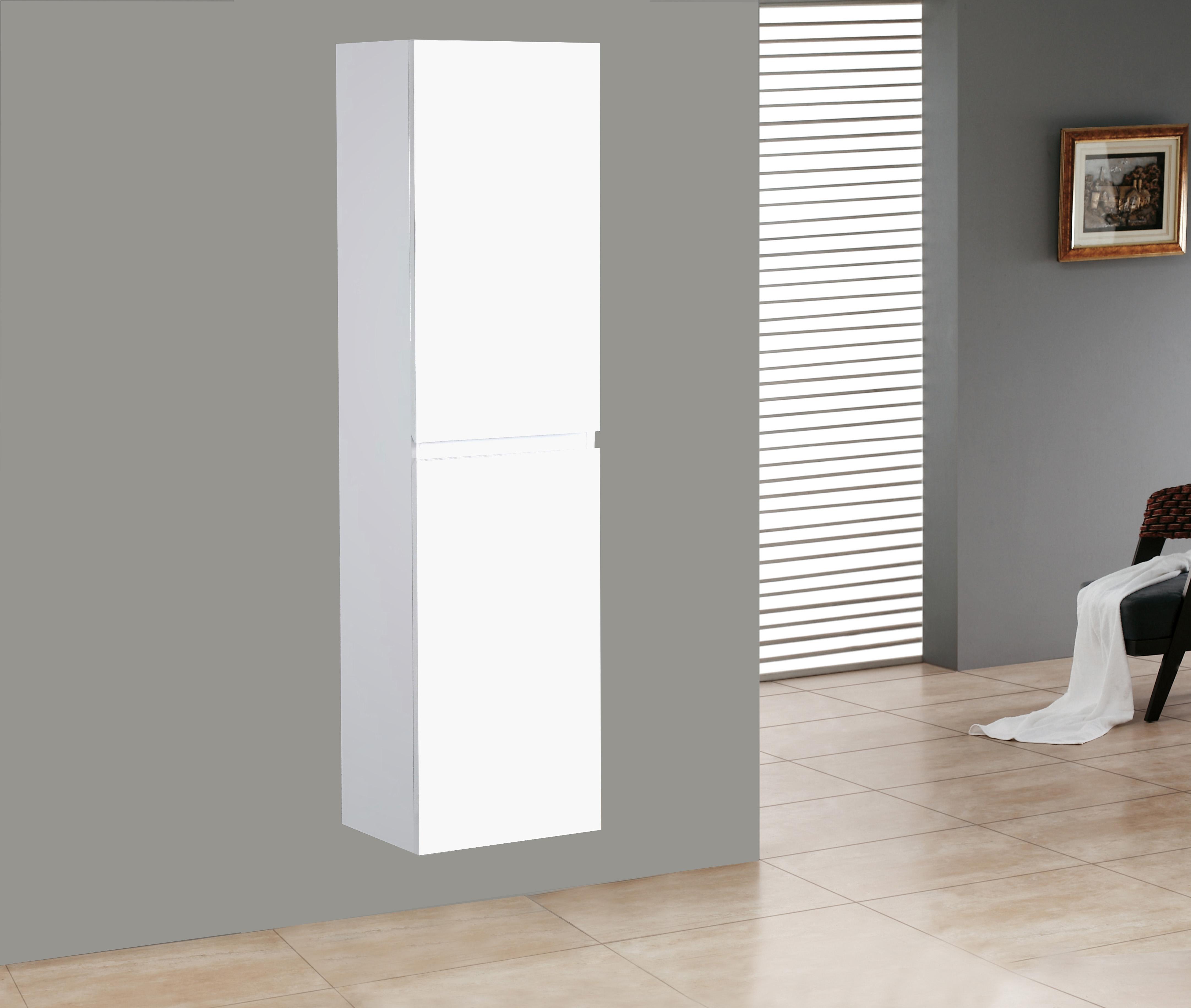 Badmöbel Seitenschrank SWIFT in hochglanz-weiß