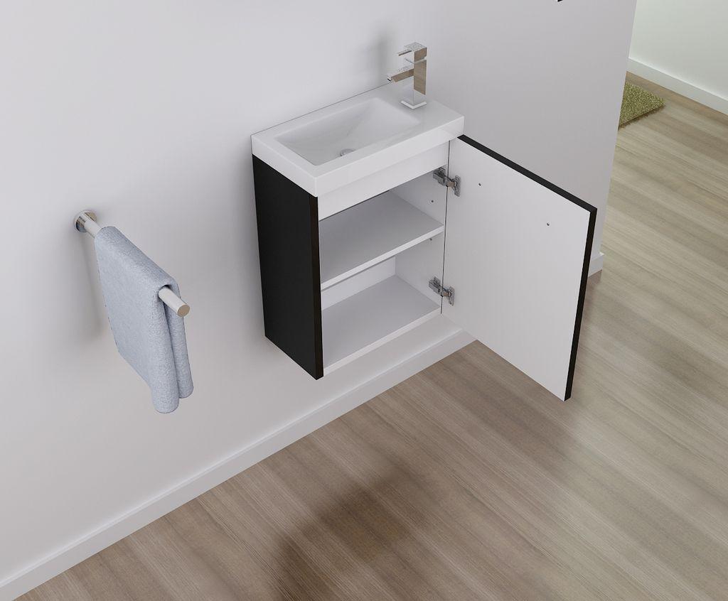 Badmöbel Unterschrank TT004 in schwarz inkl. Waschtisch