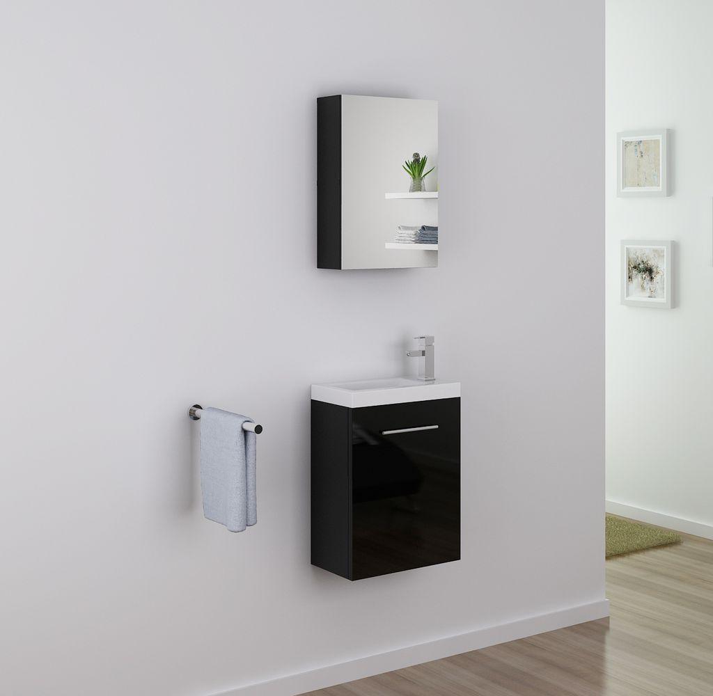 Badmöbel Spiegelschrank TT006 in schwarz