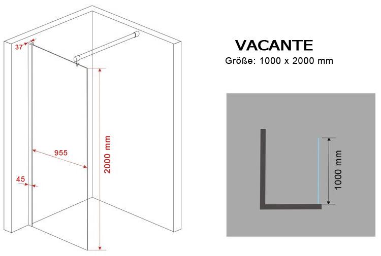 10 mm Duschtrennwand VACANTE 100 x 200 cm
