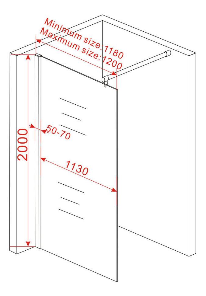 10 mm Duschtrennwand VACANTE 118 x 200 cm