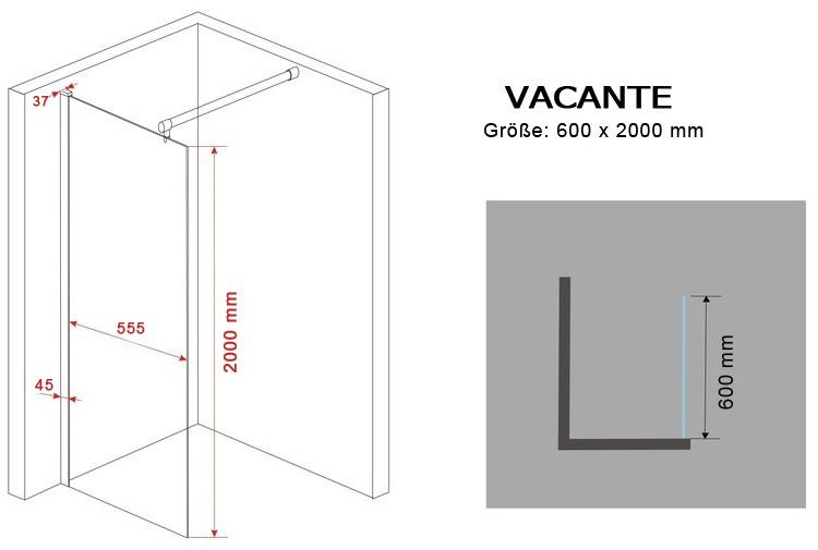 10 mm Duschtrennwand VACANTE 60 x 200 cm