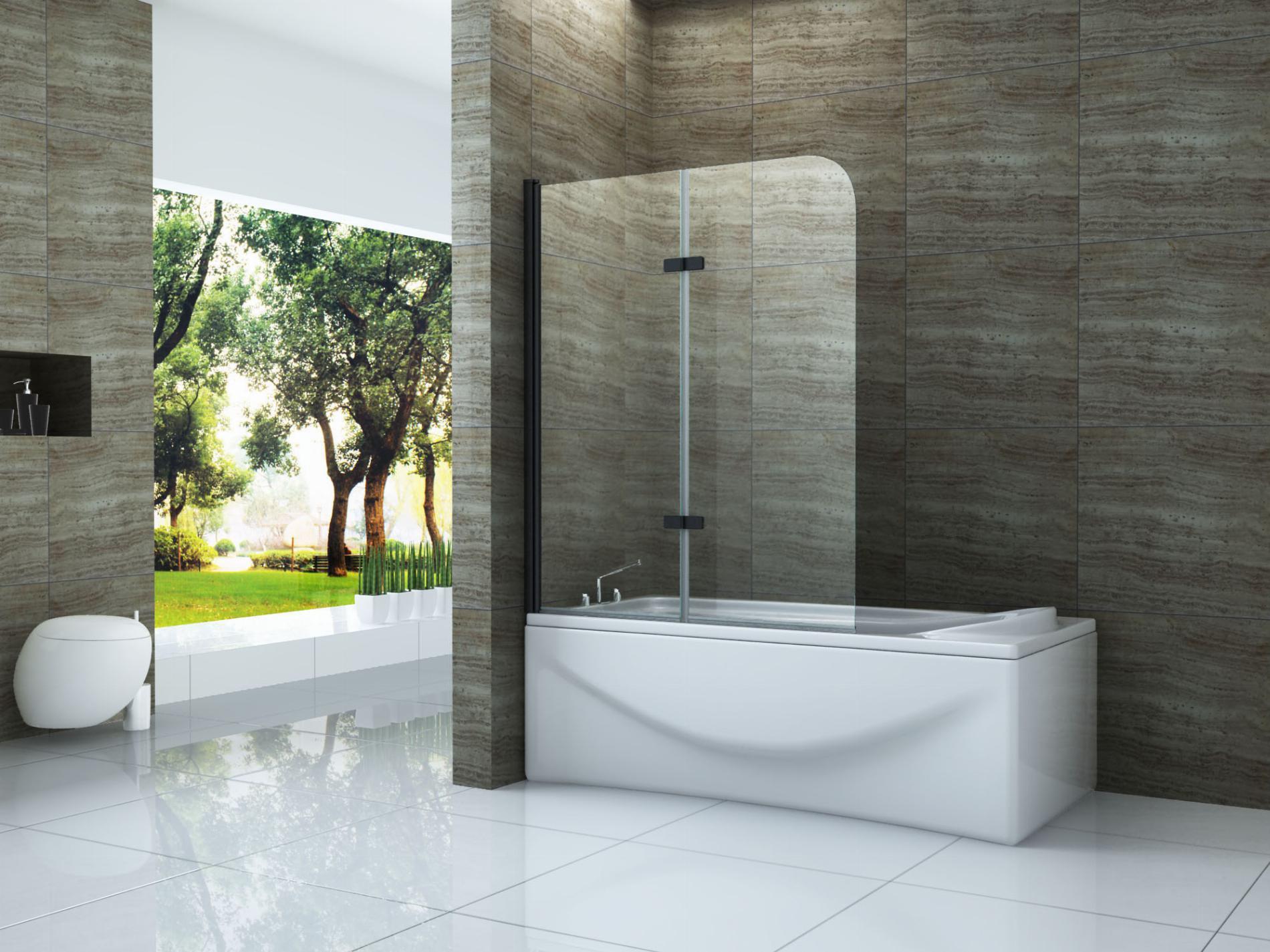 Duschtrennwand DUO - schwarz (Badewanne)