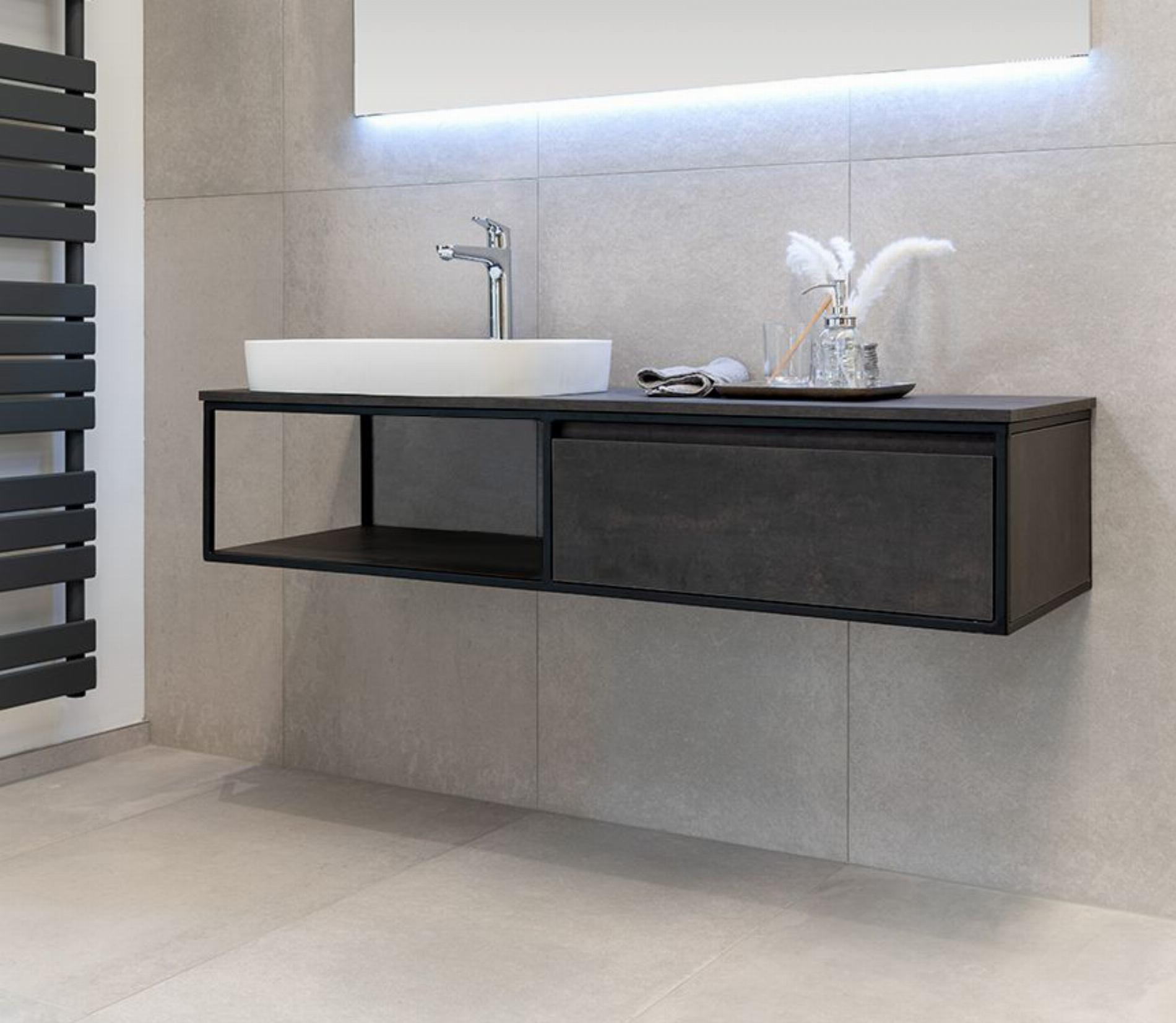 Badmöbel Unterschrank REED (HPL / beton) ohne Waschtisch